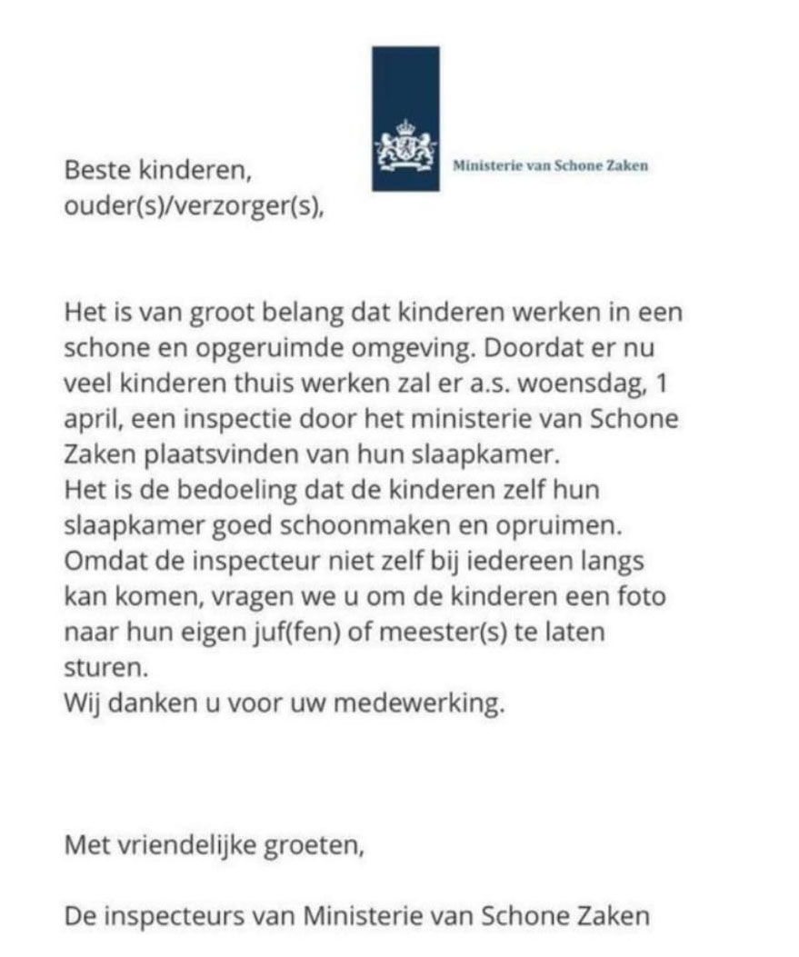 Brief van het ministerie